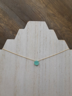 Blue Chalcedony Center Bead Necklace