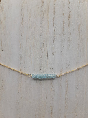 Aquamarine Beaded Bar Gold Necklace