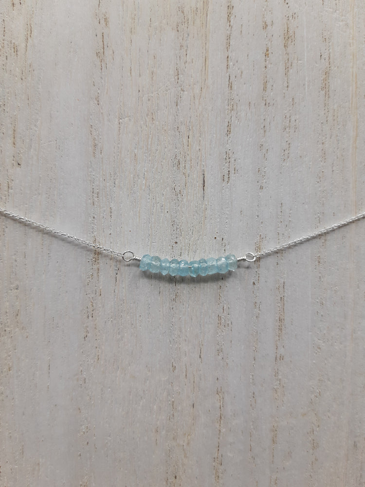 Aquamarine Beaded Bar Sterling Silver Necklace