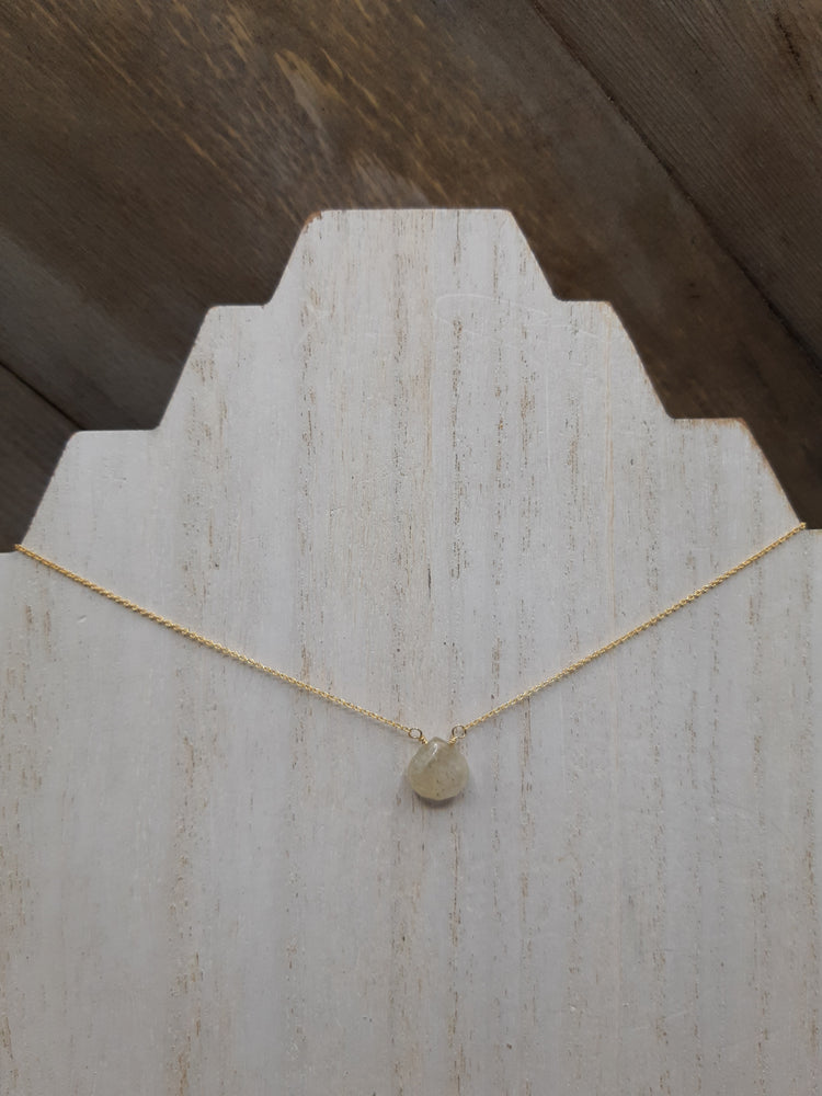 Rutilated Quartz Center Bead Necklace on Gold
