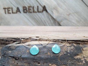 Blue Chalcedony Gold Hoops