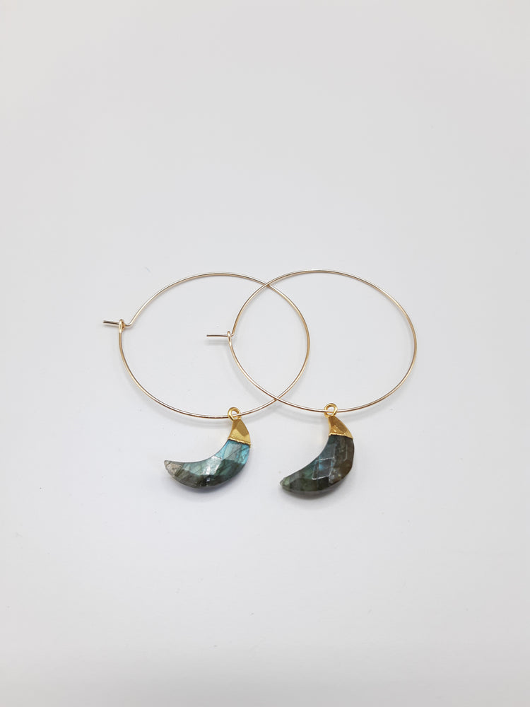 Labradorite Crescent Moon Hoop Earrings