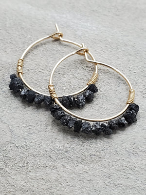 Rough Black Diamond Beaded Mini Hoops
