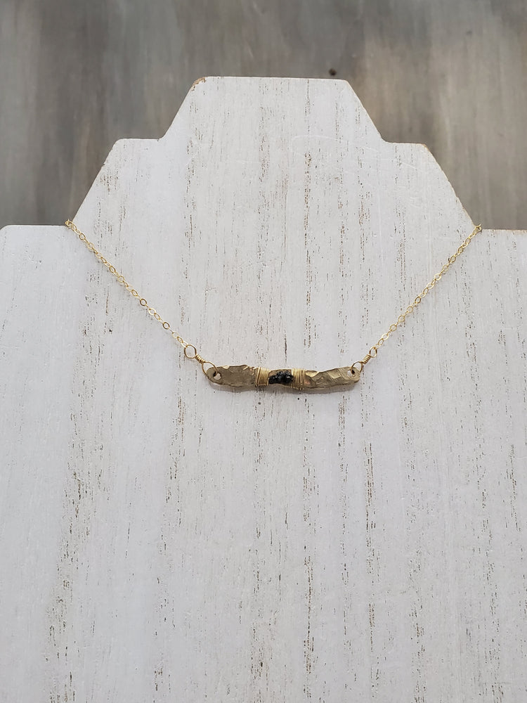 Hammered Bar Necklace with Rough Black Diamond Detail