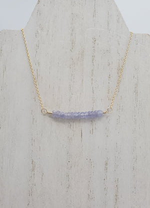 Tanzanite Beaded Bar Necklace on Gold