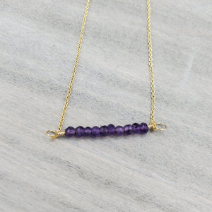 Amethyst Beaded Bar Necklace on Gold