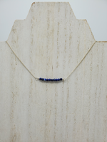 Lapis Lazuli Beaded Bar Necklace on Silver
