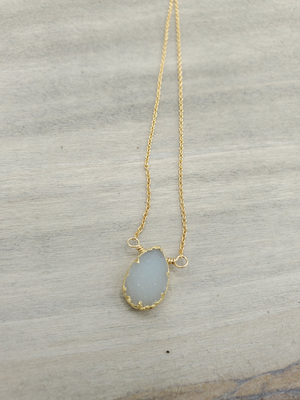 Quartz Druzy Center Bead Necklace on Gold