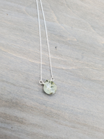 Prehnite Center Bead Sterling Silver Necklace
