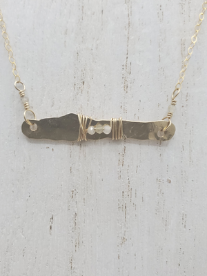 Hammered Bar Necklace with Labradorite Detail on Gold