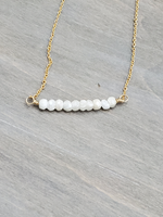 Silverite Beaded Bar Necklace on Gold