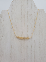Citrine Beaded Bar Necklace on Gold