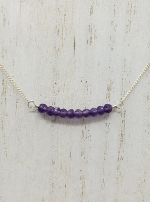 Amethyst Beaded Bar on Sterling Silver