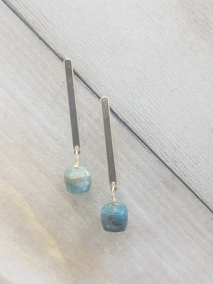 Ocean Kyanite Flat Stick Post Earrings