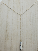 Blue Opal Lariat Necklace on Sterling Silver