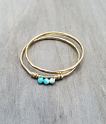 Turquoise hammered Stack Ring