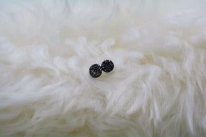 Charcoal Druzy Stud Earrings