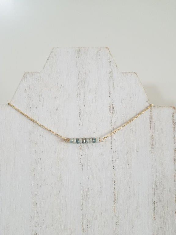 Corundum Beaded Bar Necklace