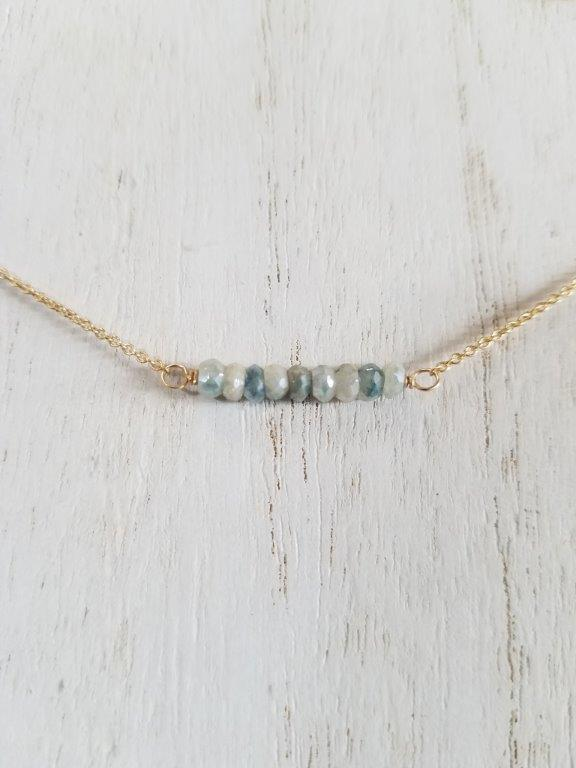 Corundum Beaded Bar Necklace on Gold