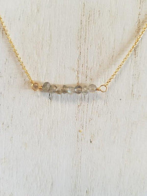 Labradorite Beaded Bar Necklace on Gold