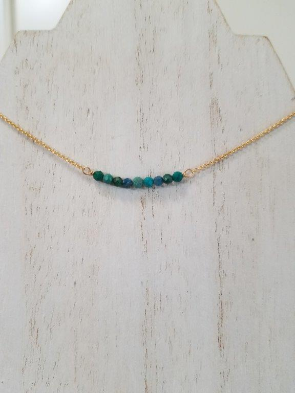 Chrysocolla Beaded Bar Necklace