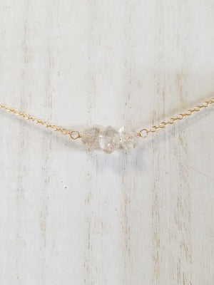 Herkimer Diamond Beaded Bar Necklace on Gold