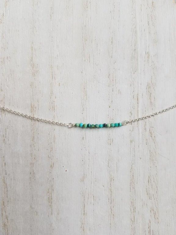 Natural Turquoise Beaded Bar Necklace on Silver