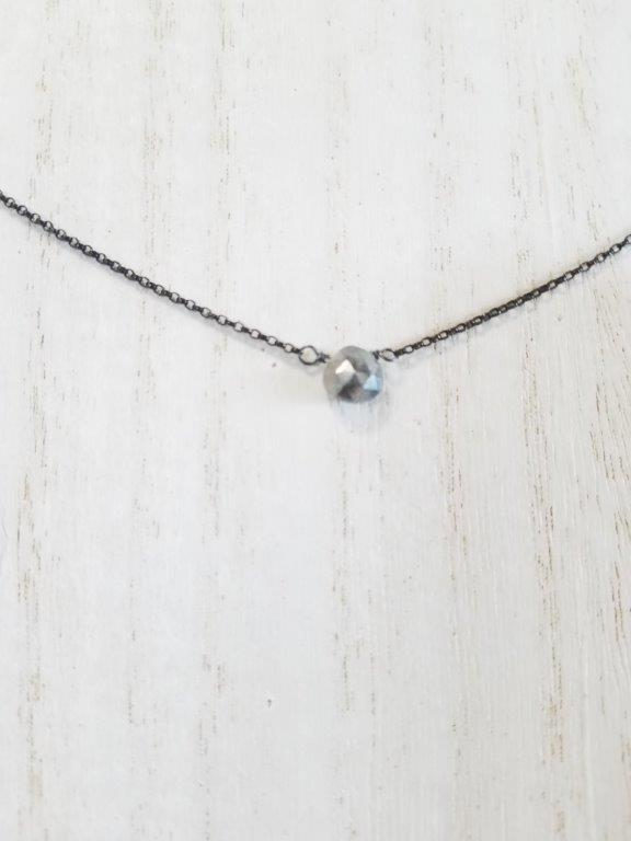 Grey Moonstone Center Bead Necklace