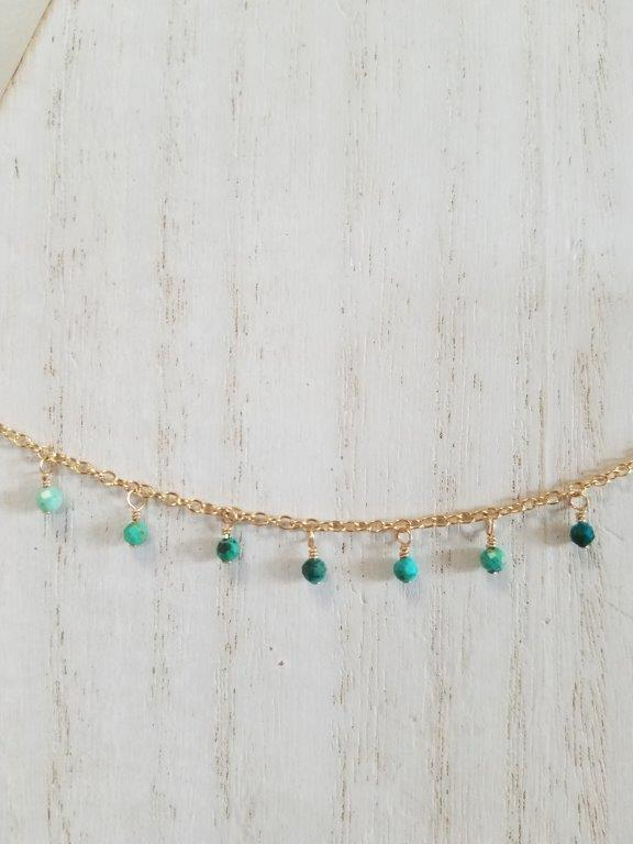 Chrysocolla Gypsy Charm Choker Necklace