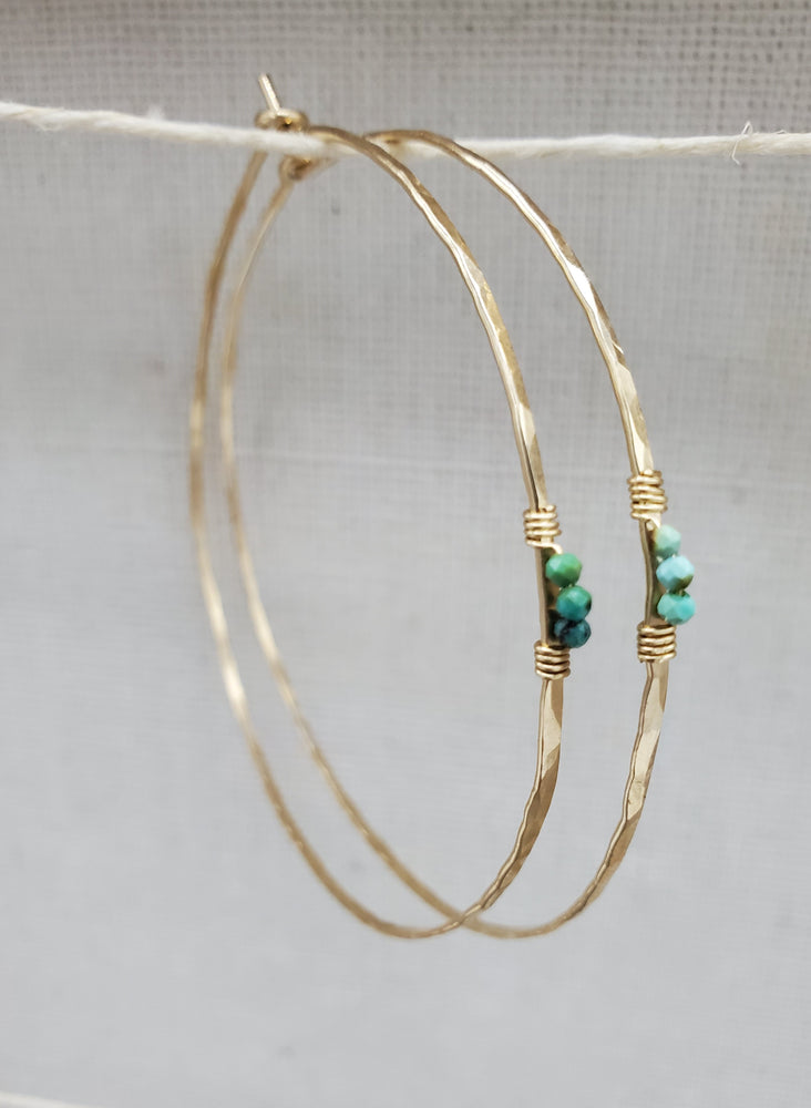 Minimal Turquoise Hammered Beaded Hoops