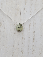 Prehnite Center Bead Necklace on Sterling Silver