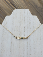 Hammered Bar Necklace with Turquoise Details