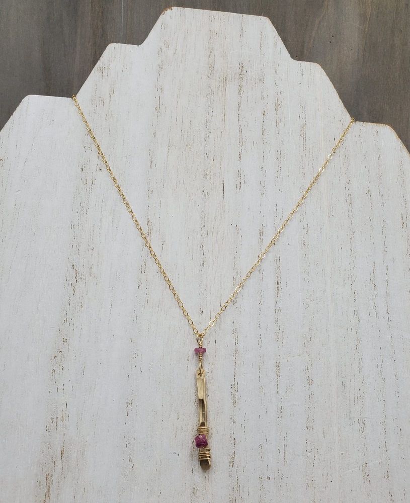 Hammered Charm Necklace with Sapphire Detail on Gold