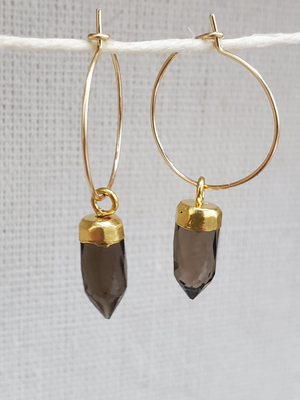 Smokey Quartz Spike Hoops