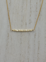 Mother of Pearl Beaded Bar Necklace on Gold