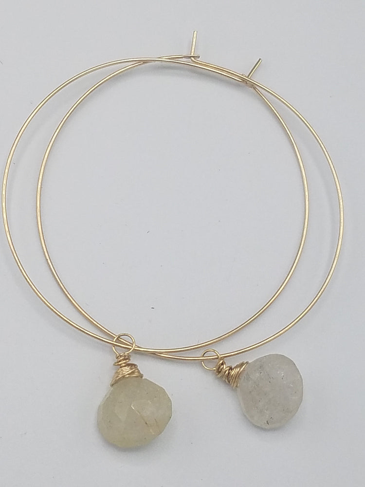 Rutilated Quartz Drop Hoops