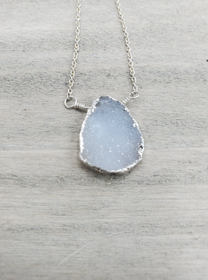Quartz Druzy Charm Necklace on Sterling Silver