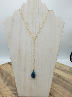 Chrysocolla Long or Short Gold Necklace