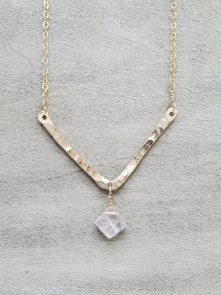 Rose Quartz Hammered V Necklace
