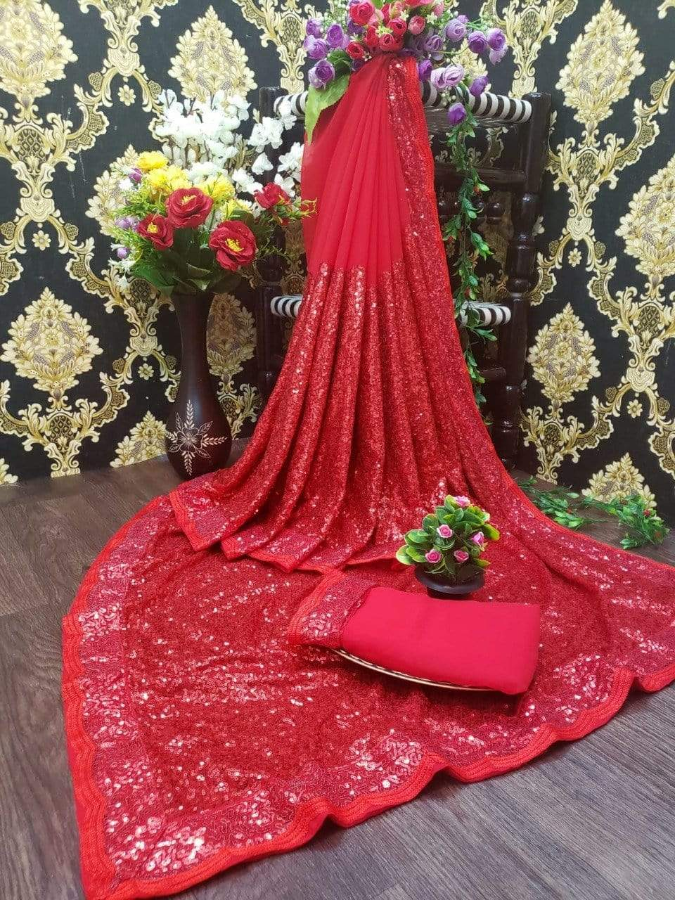 DE designer saree Wedding Wear Work Designer Red Sarees