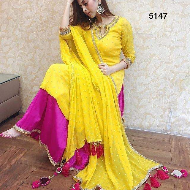 DE Designer Yellow Top N Plazzo Set