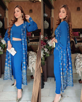 Silk Digital Blue Print Koti
