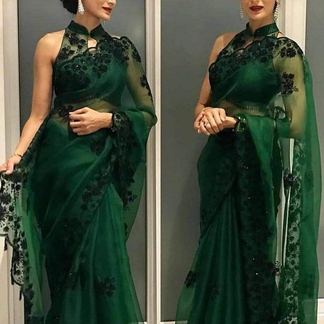 EinayaCollection Gorgeous Designer Bottle Green Saree
