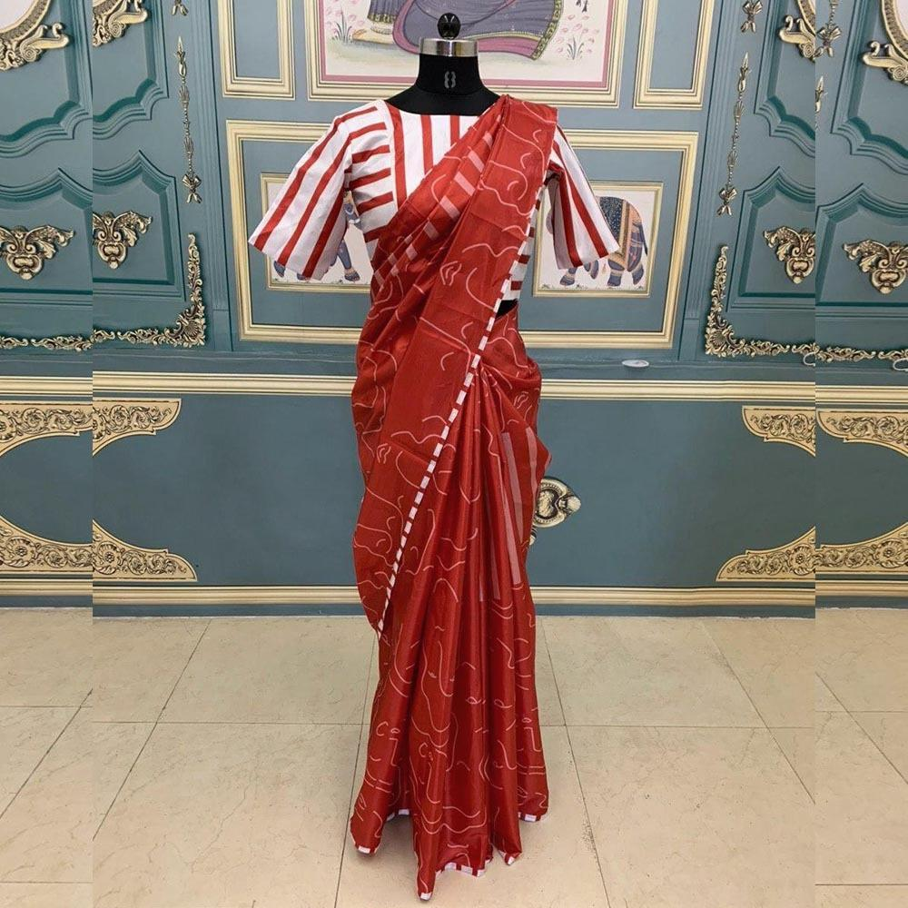 EinayaCollection Vidhya Balan Red Printed Saree