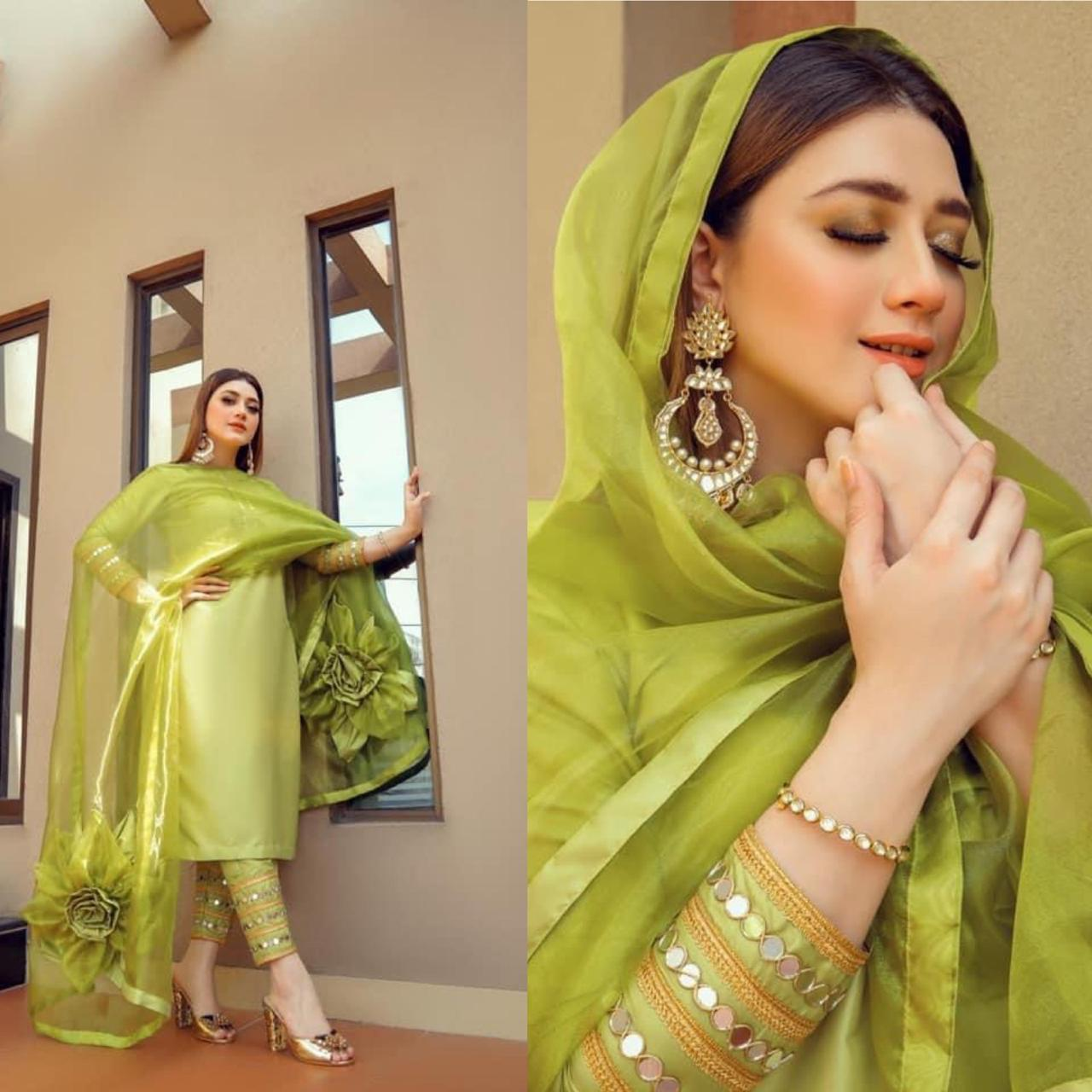 Pakistani Actress Momina Iqbal Designer Suit