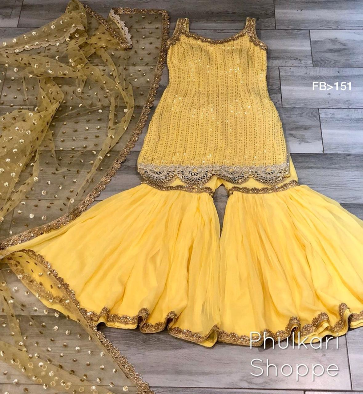 MnM Designer Outfit Yellow Georgette Sharara