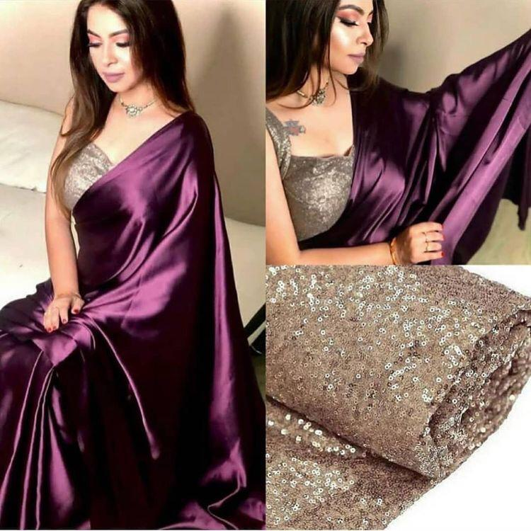 MnM designer saree Gorgeous Wine Satin Saree With Sequence Work Blause