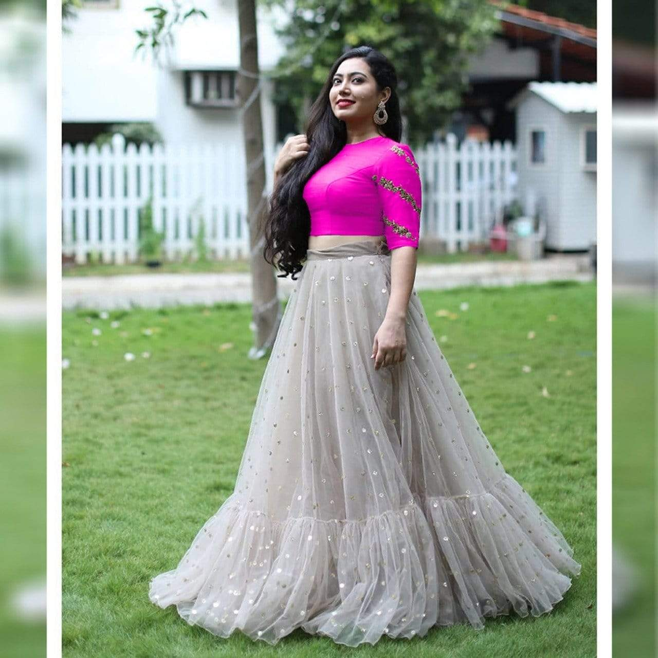 SE Crop Top Gorgeous Rani Gray Crop Top
