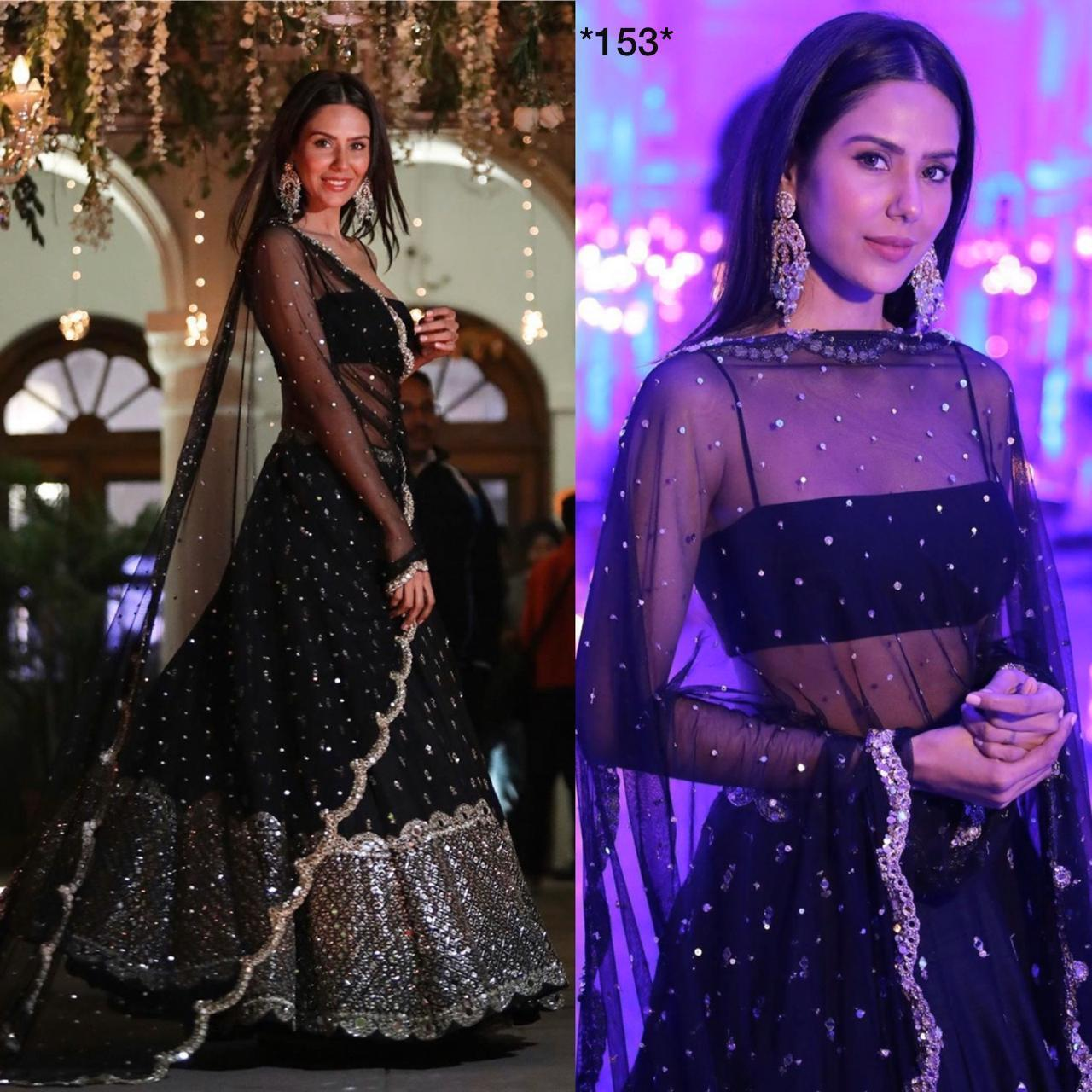 Black Designer lehenga Choli For Party Wear Merrage Function