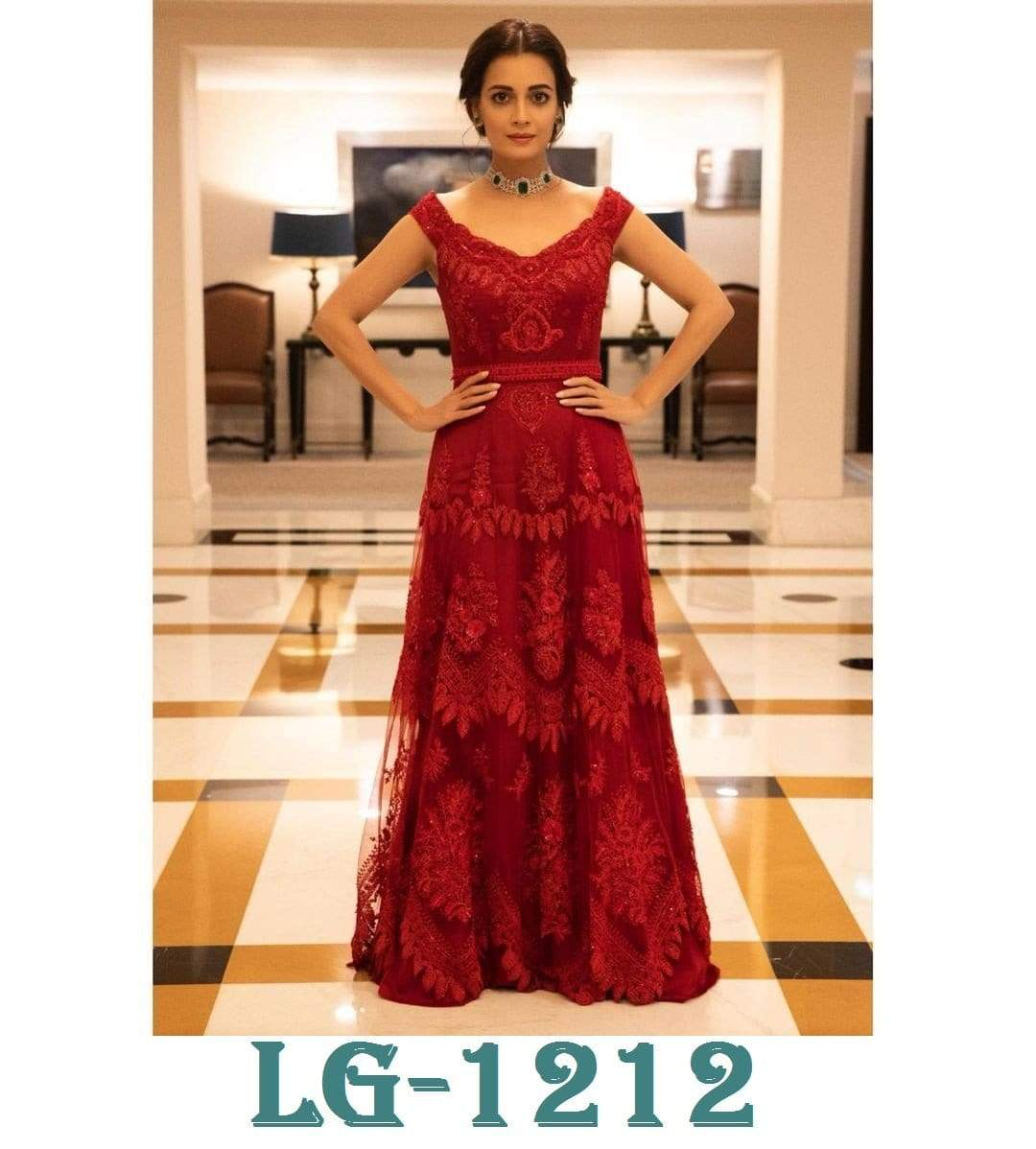 SE Designer Gown Beautiful Diya Mirza Designer Red Gowns